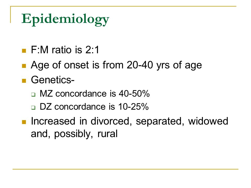 Epidemiology F:M ratio is 2:1 Age of onset is from 20-40 yrs of age