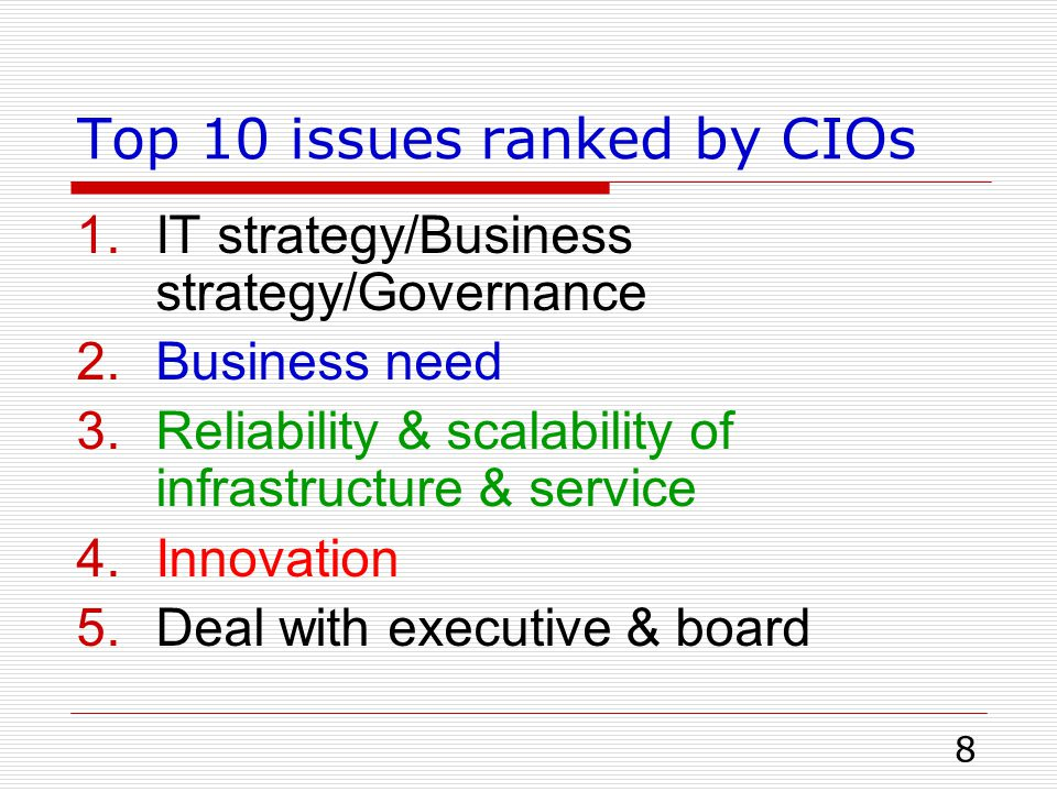 Top 10 issues ranked by CIOs