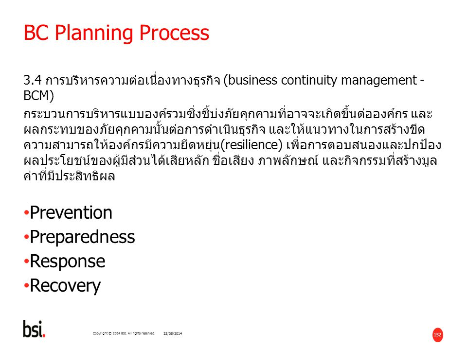 BC Planning Process Prevention Preparedness Response Recovery