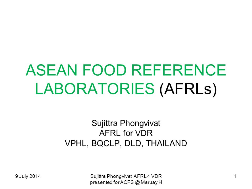 ASEAN FOOD REFERENCE LABORATORIES (AFRLs)