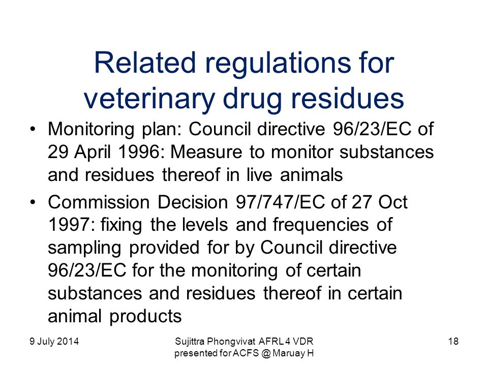 Related regulations for veterinary drug residues
