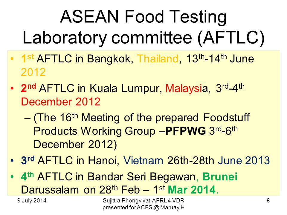ASEAN Food Testing Laboratory committee (AFTLC)