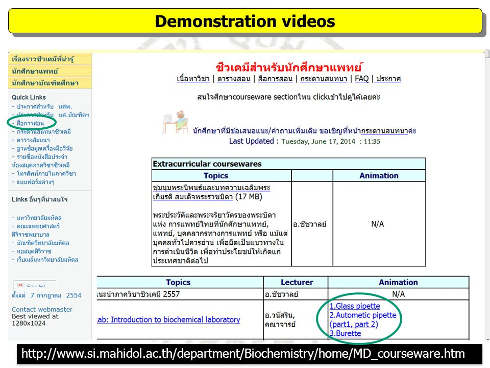 Demonstration videos http://www.si.mahidol.ac.th/department/Biochemistry/home/MD_courseware.htm