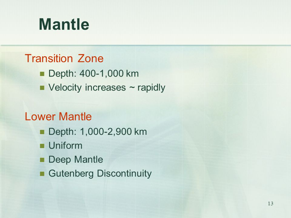 Mantle Transition Zone Lower Mantle Depth: 400-1,000 km