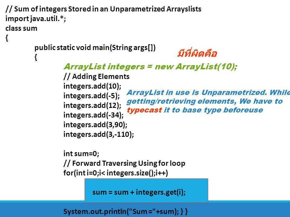 มีที่ผิดคือ // Sum of integers Stored in an Unparametrized Arrayslists