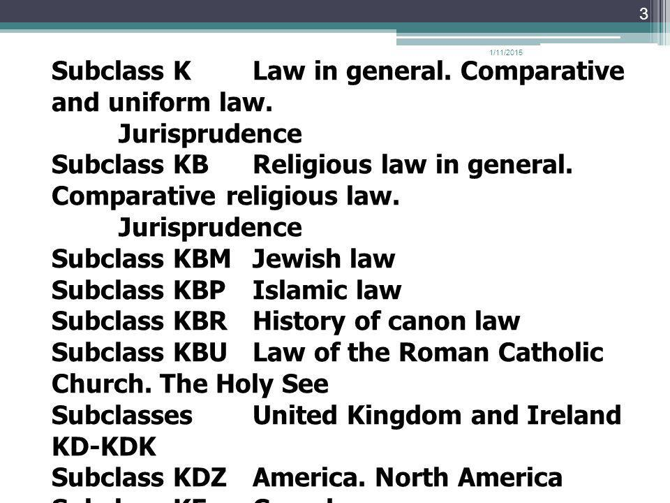 Subclass K Law in general. Comparative and uniform law. Jurisprudence