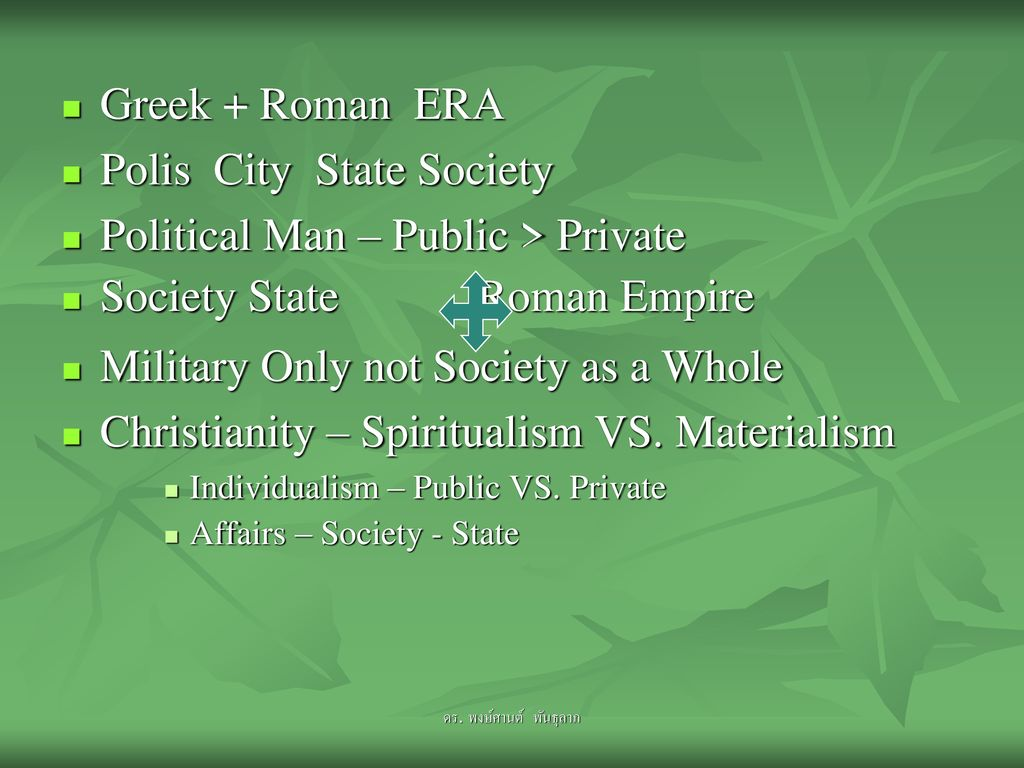 Polis City State Society Political Man – Public > Private