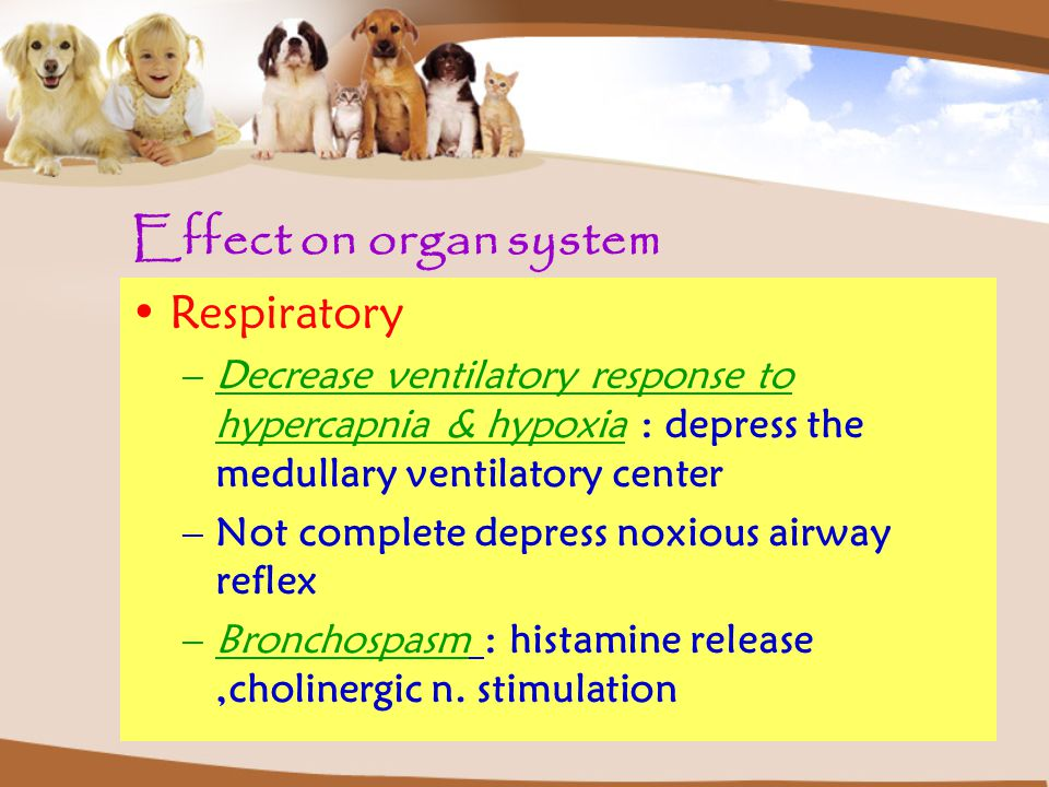 Effect on organ system Respiratory