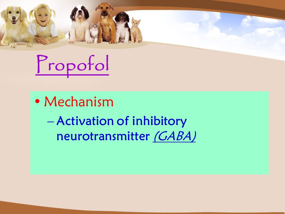 Propofol Mechanism Activation of inhibitory neurotransmitter (GABA)