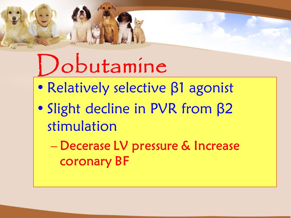 Dobutamine Relatively selective β1 agonist