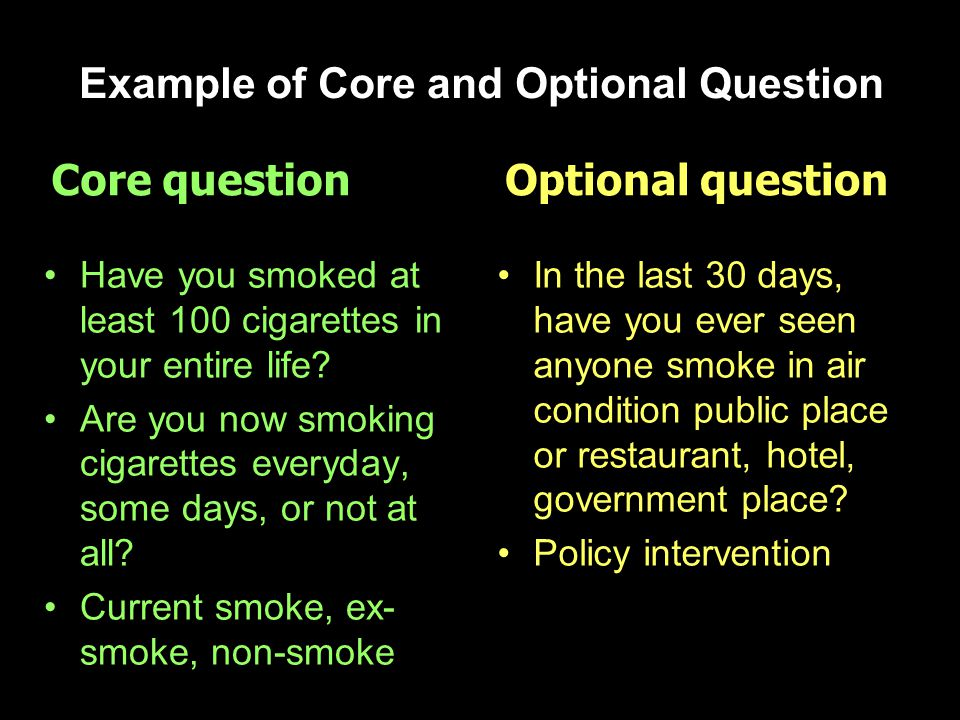 Example of Core and Optional Question