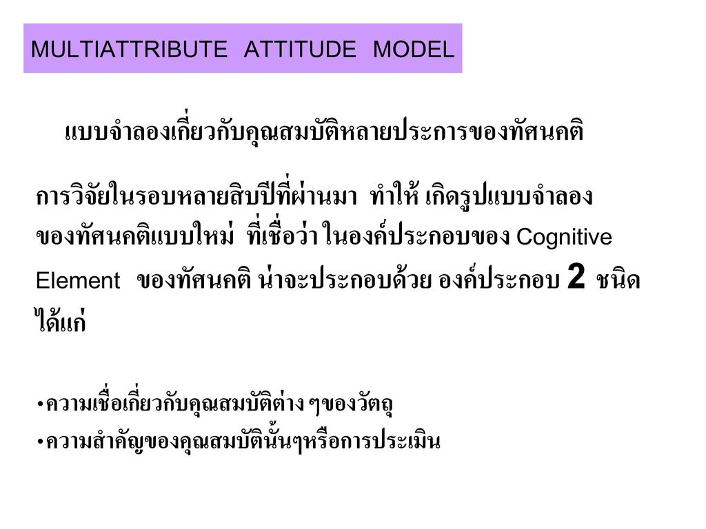 MULTIATTRIBUTE ATTITUDE MODEL
