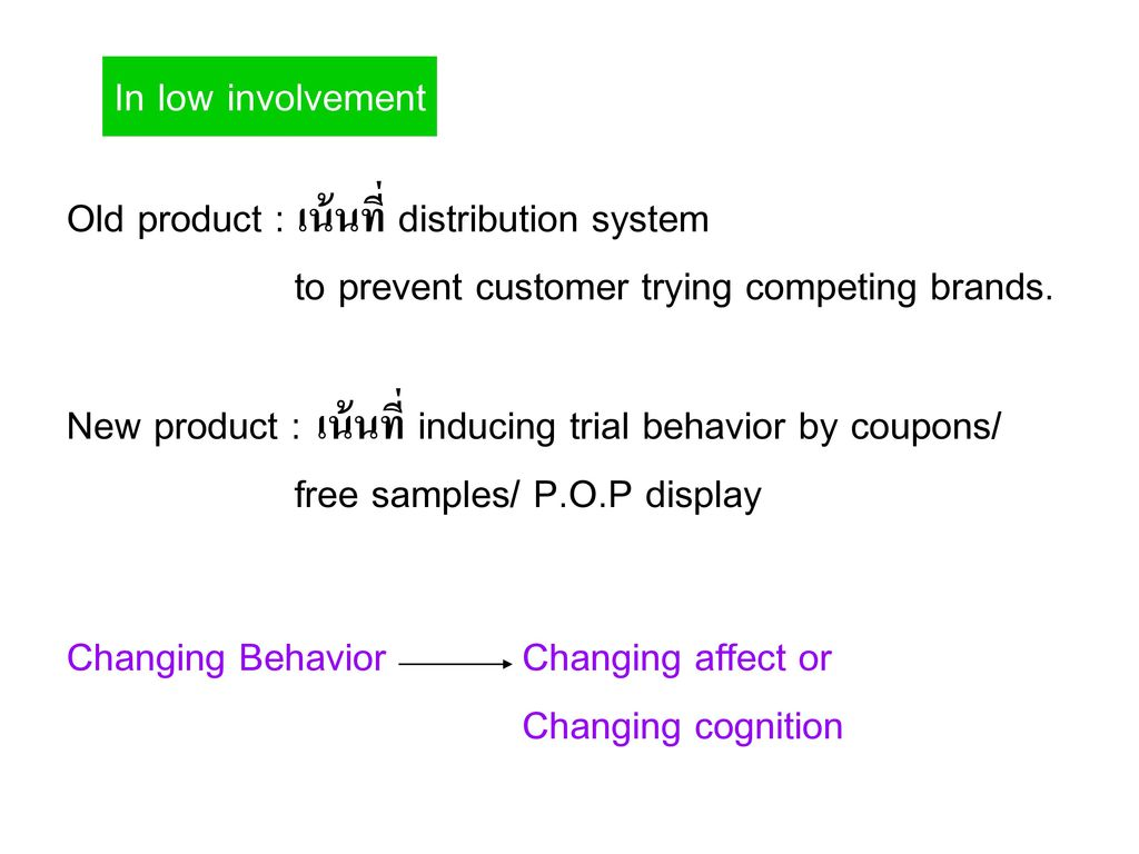 In low involvement Old product : เน้นที่ distribution system. to prevent customer trying competing brands.