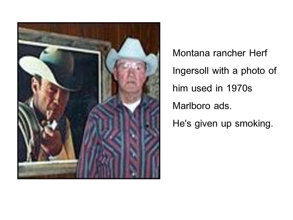 Montana rancher Herf Ingersoll with a photo of. him used in 1970s.