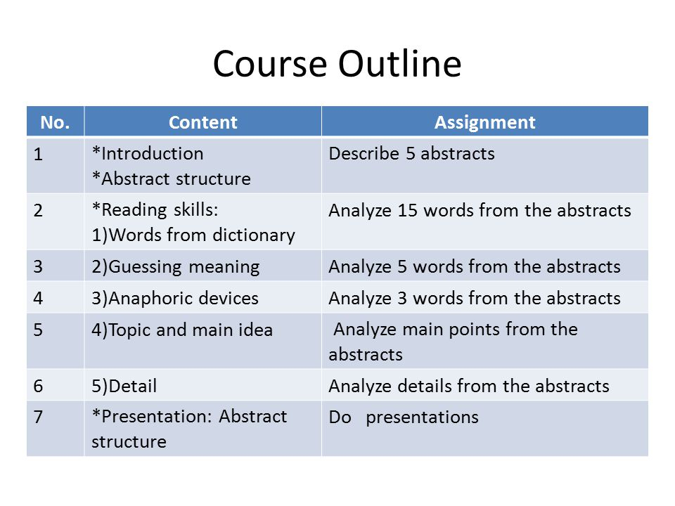 Course Outline No. Content Assignment 1 *Introduction