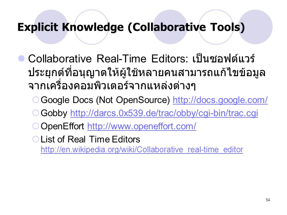 Explicit Knowledge (Collaborative Tools)