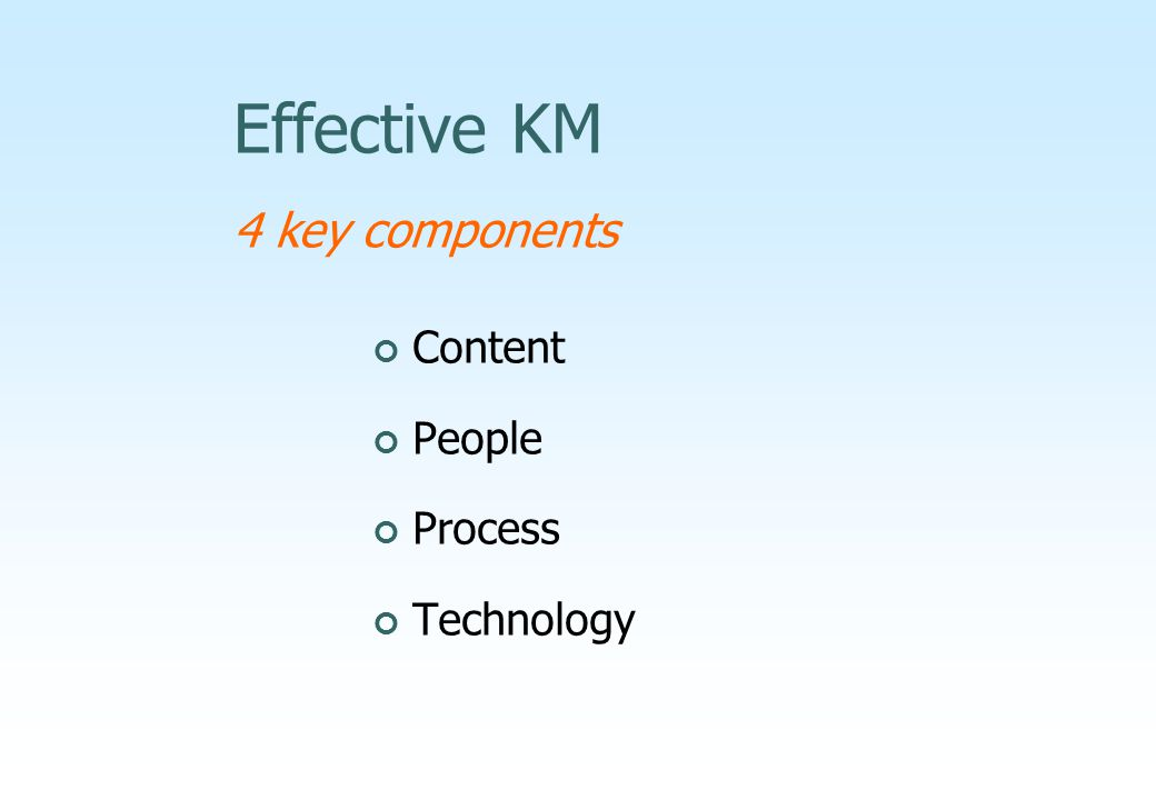 Effective KM 4 key components