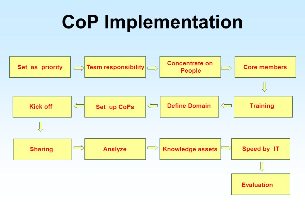 CoP Implementation Set as priority Team responsibility Concentrate on