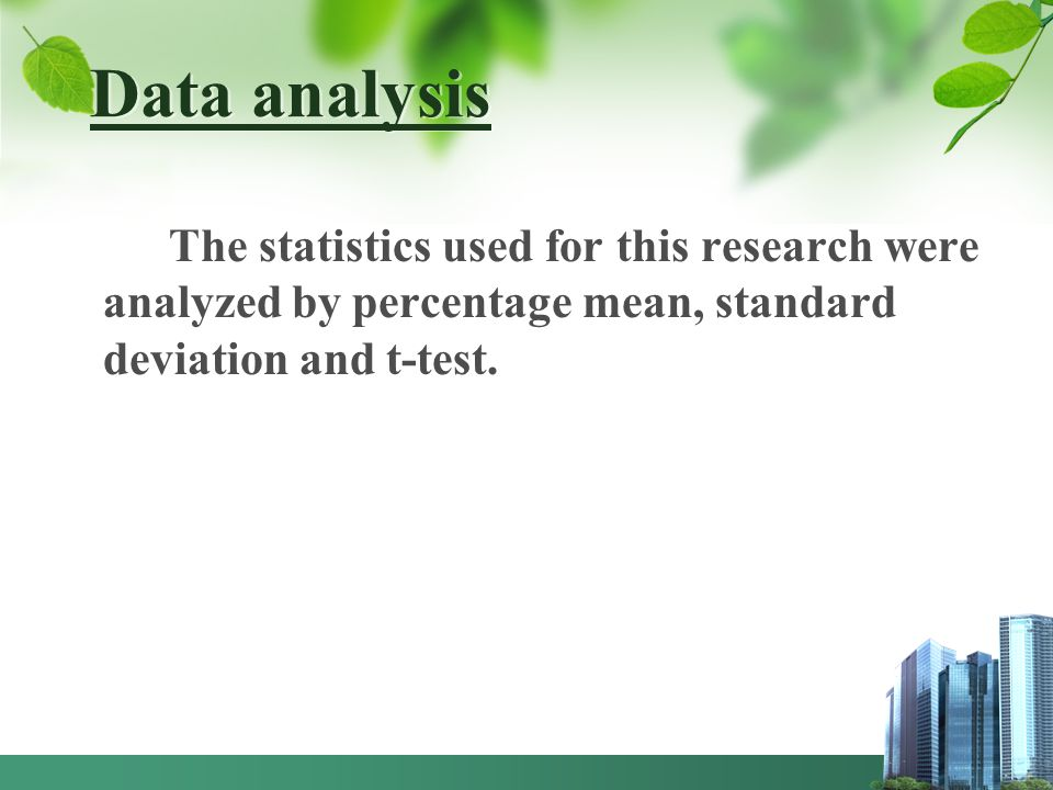 Data analysis The statistics used for this research were analyzed by percentage mean, standard deviation and t-test.