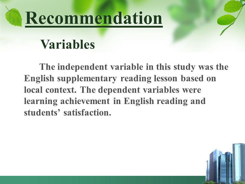 Recommendation Variables