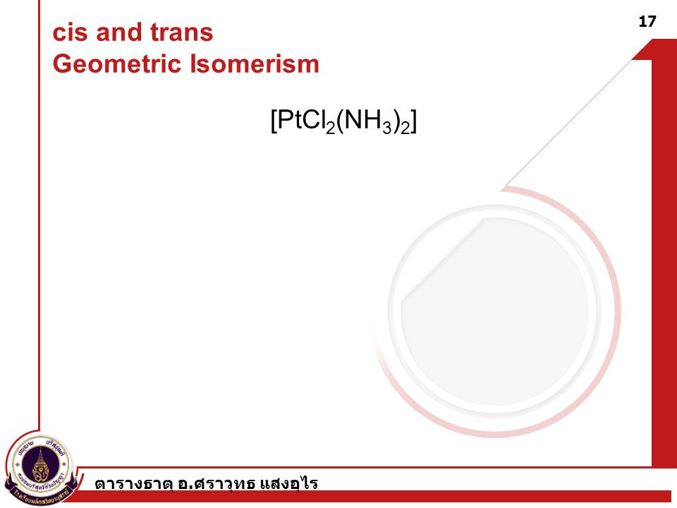 cis and trans Geometric Isomerism