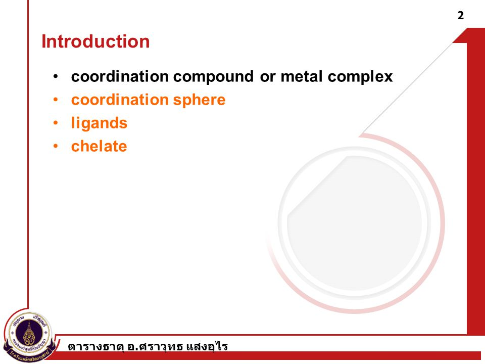 Introduction coordination compound or metal complex