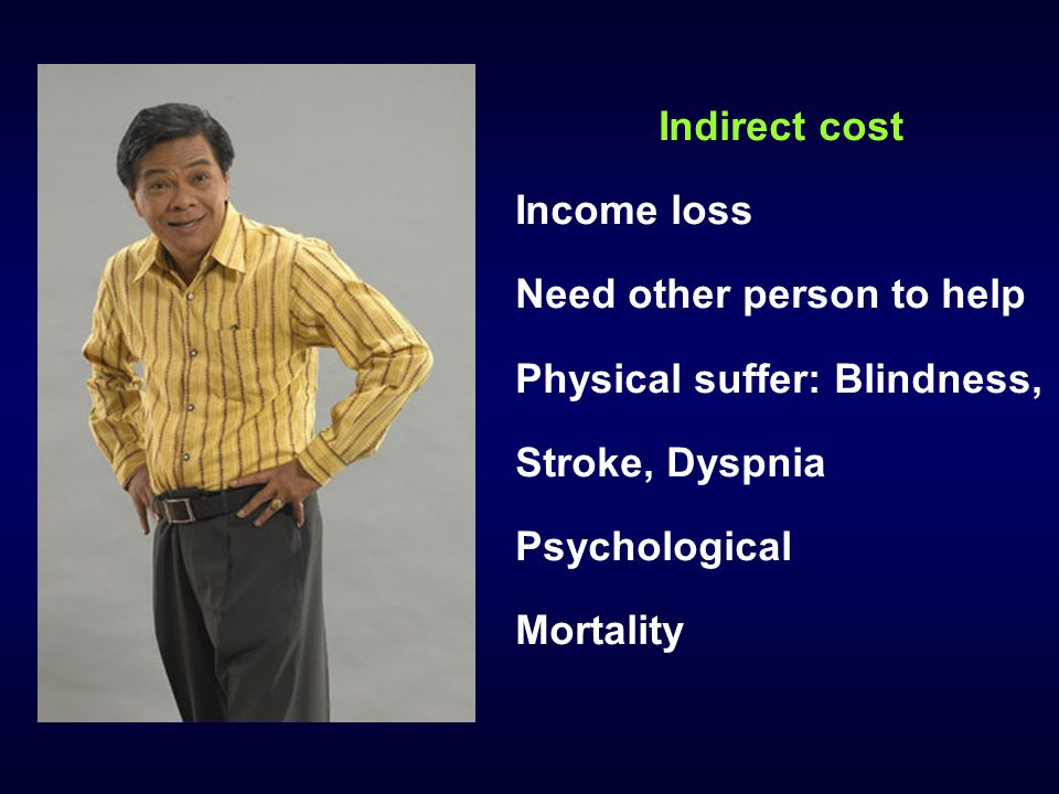 Indirect cost Income loss. Need other person to help. Physical suffer: Blindness, Stroke, Dyspnia.