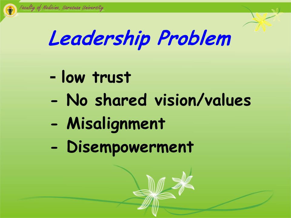 Leadership Problem - No shared vision/values - Misalignment