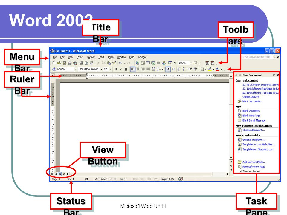 Word 2002 Title Bar Toolbars Menu Bar Ruler Bar View Button Task Pane