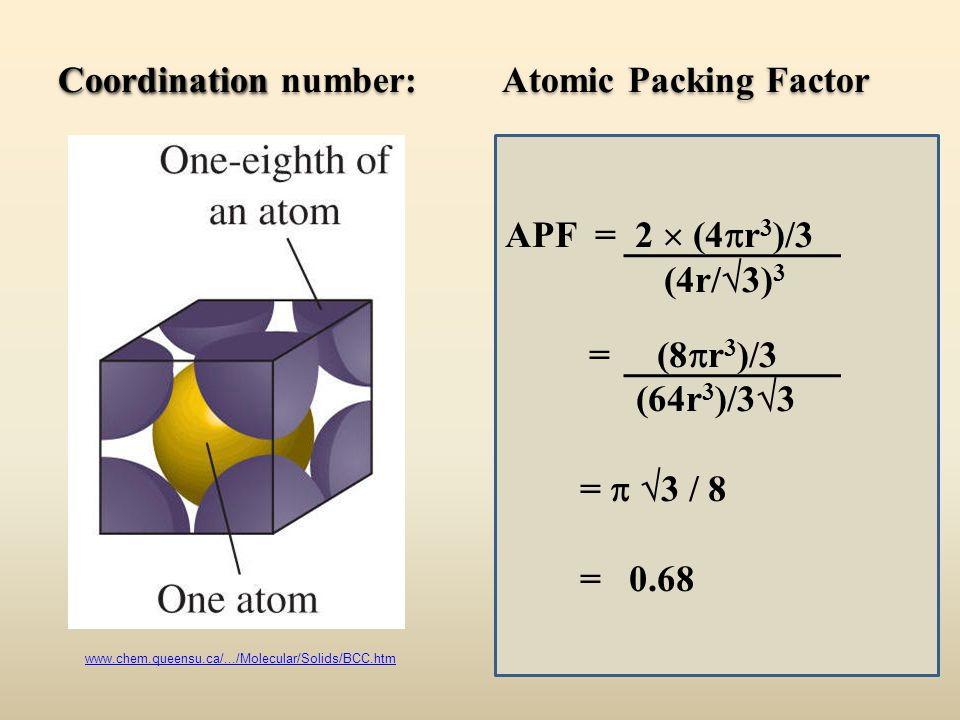 Coordination number: Atomic Packing Factor