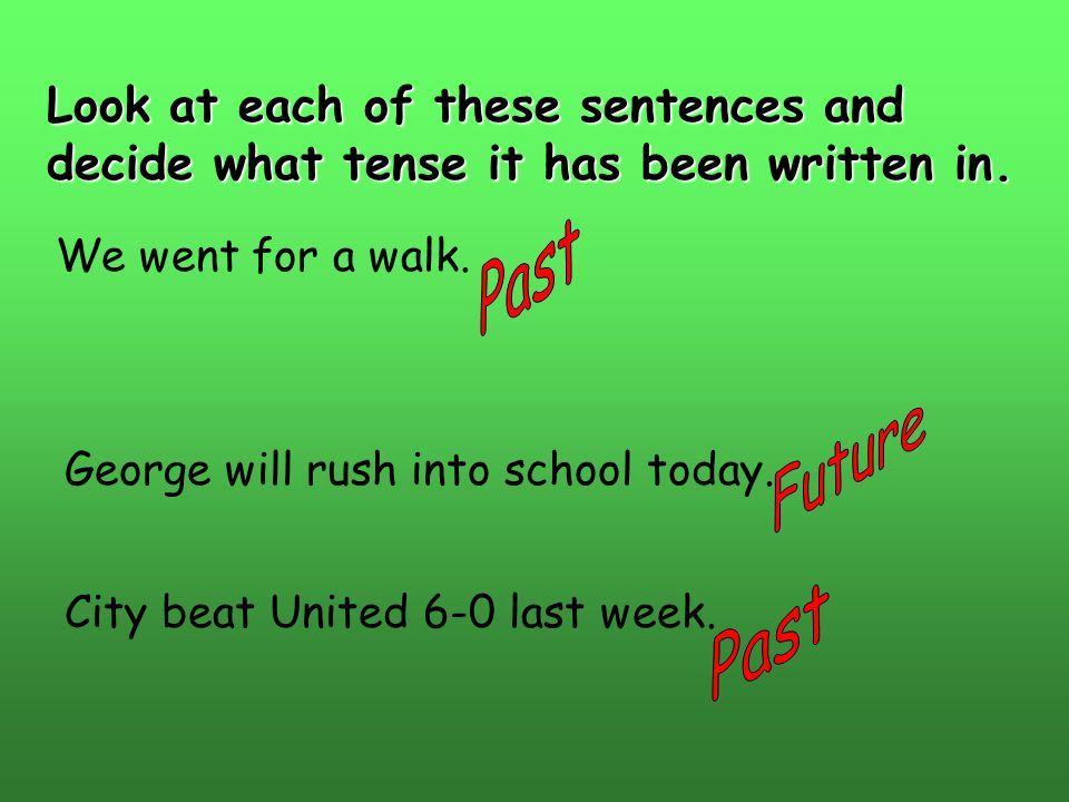 Look at each of these sentences and decide what tense it has been written in.