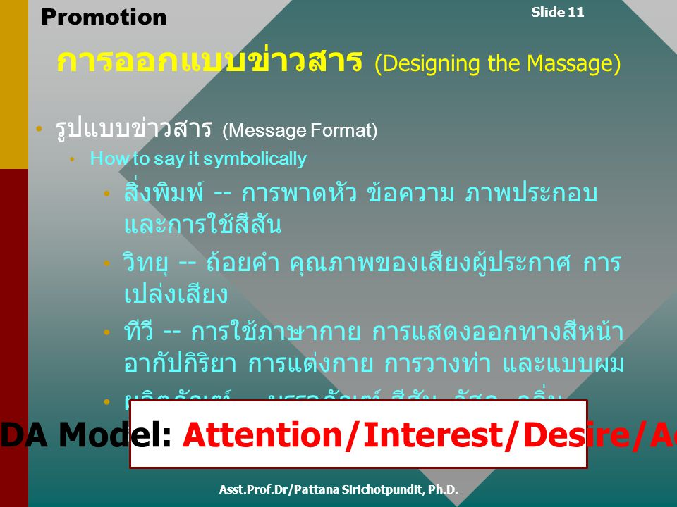 AIDA Model: Attention/Interest/Desire/Action