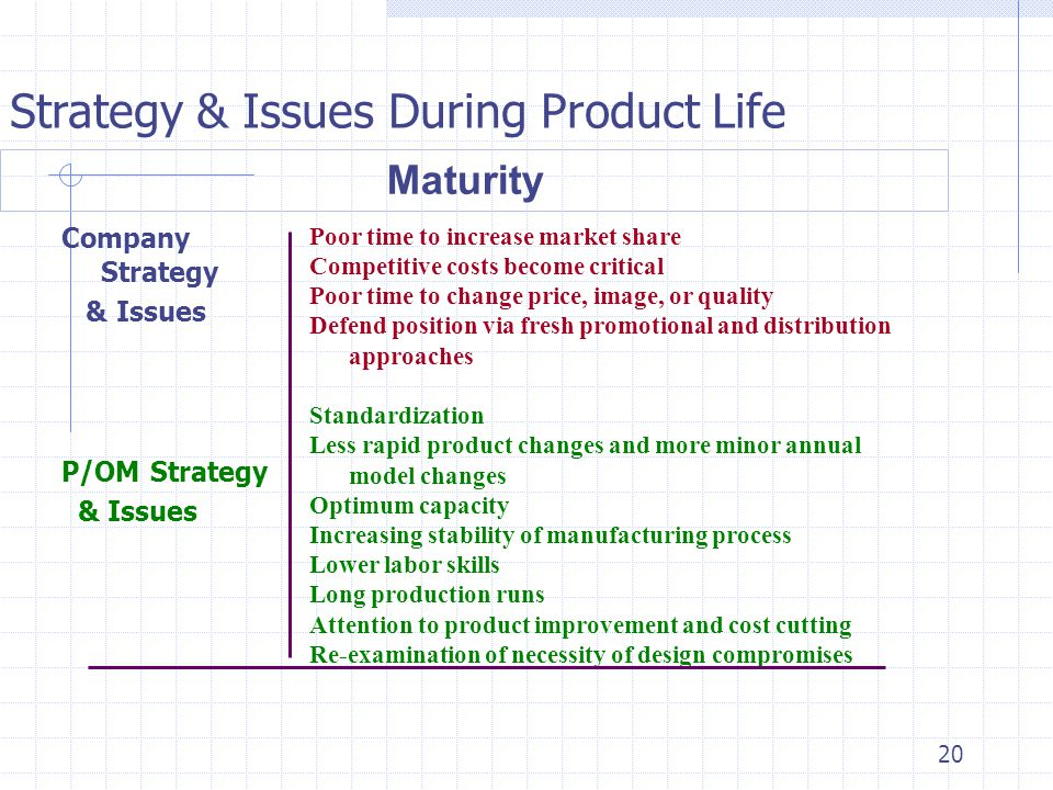 Strategy & Issues During Product Life