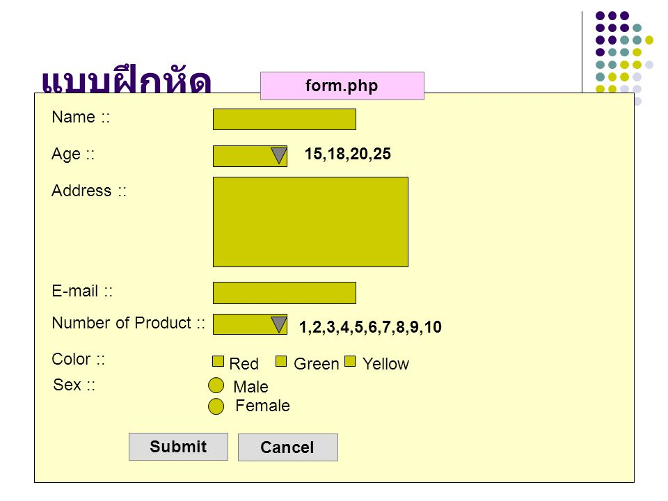 แบบฝึกหัด form.php Name :: Age :: 15,18,20,25 Address :: E-mail ::