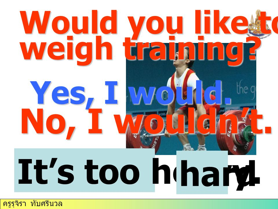 No, I wouldn't. It's too heavy. hard Would you like to try