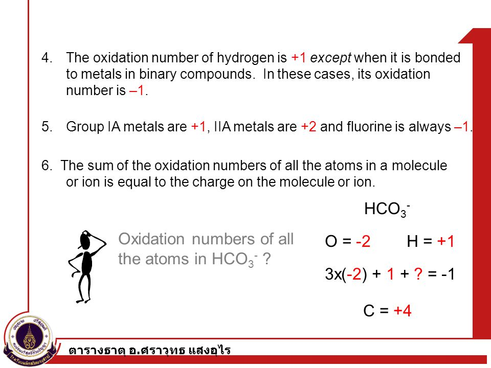 Oxidation numbers of all the atoms in HCO3- O = -2 H = +1