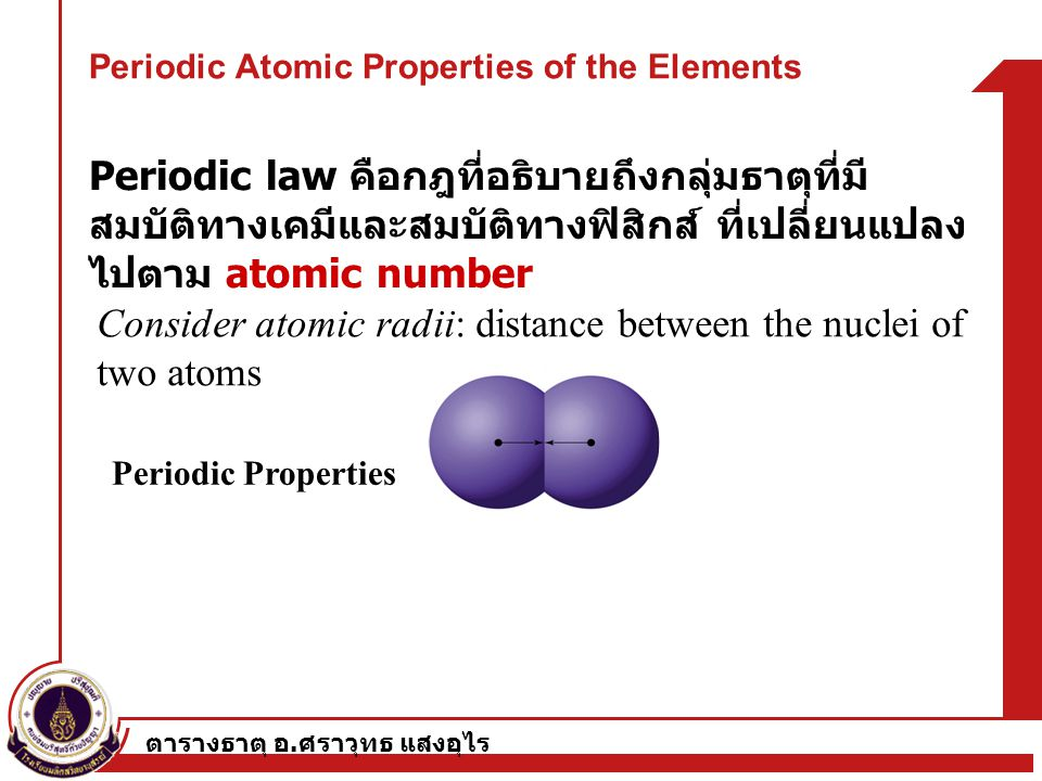Periodic Atomic Properties of the Elements