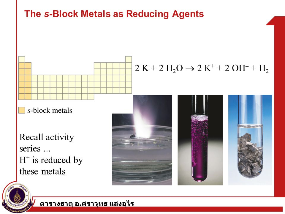 The s-Block Metals as Reducing Agents