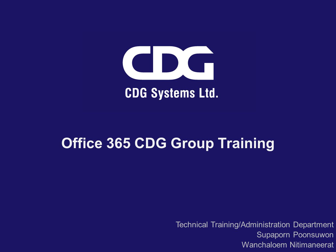 Office 365 CDG Group Training