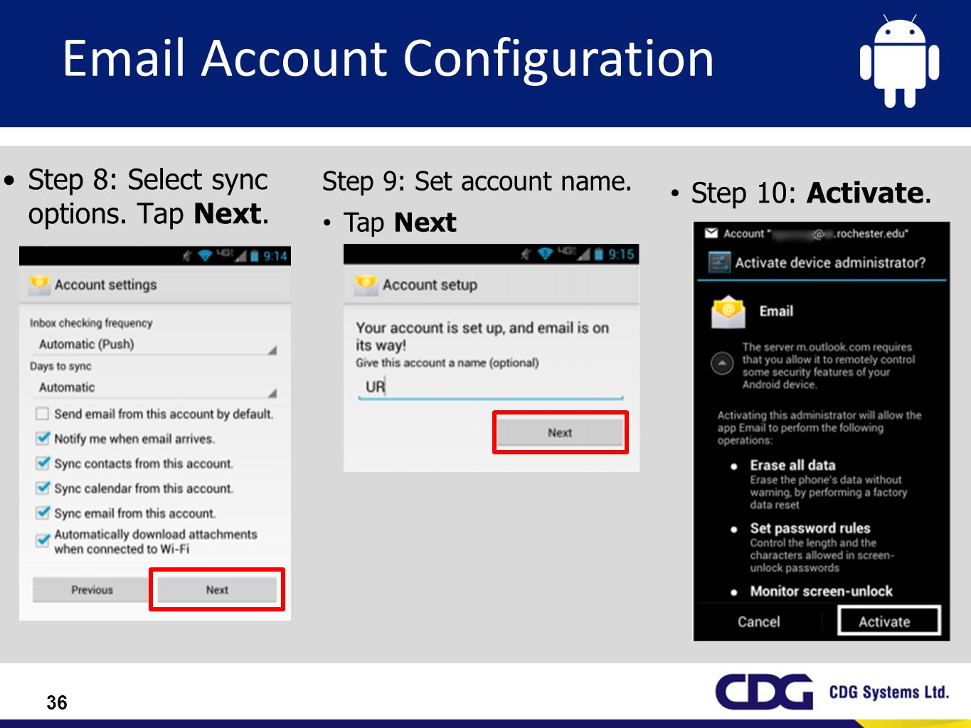 Email Account Configuration