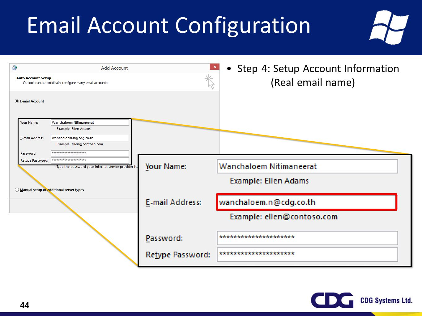 Step 4: Setup Account Information