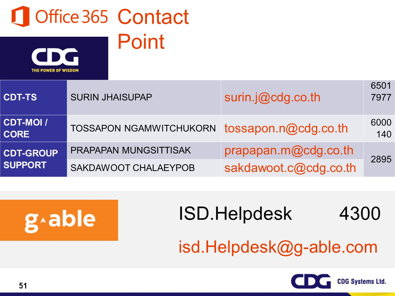 Contact Point ISD.Helpdesk 4300 isd.Helpdesk@g-able.com