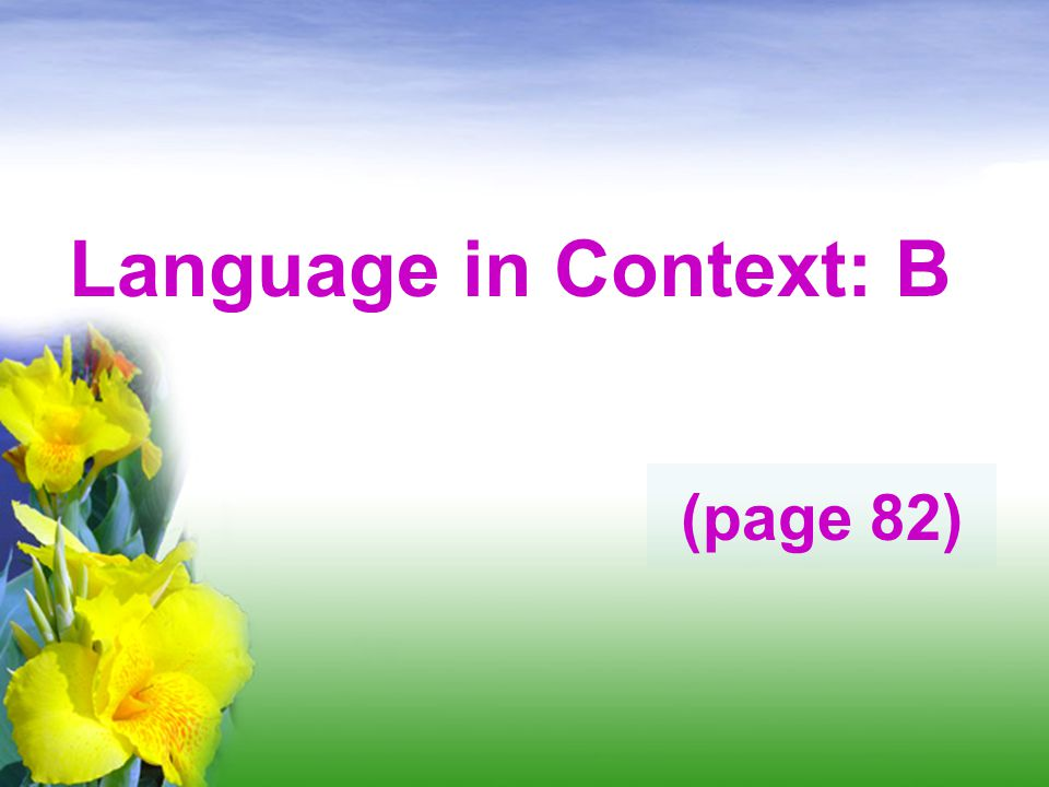 Language in Context: B (page 82)