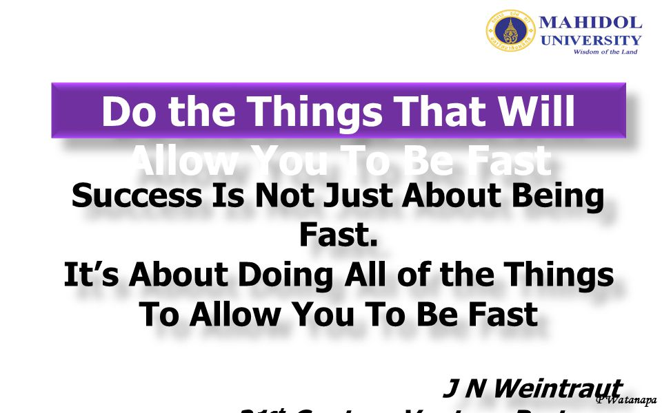 Do the Things That Will Allow You To Be Fast