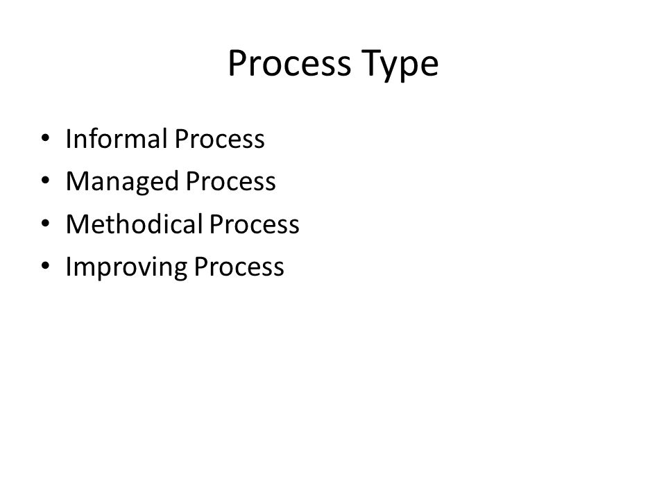 Process Type Informal Process Managed Process Methodical Process