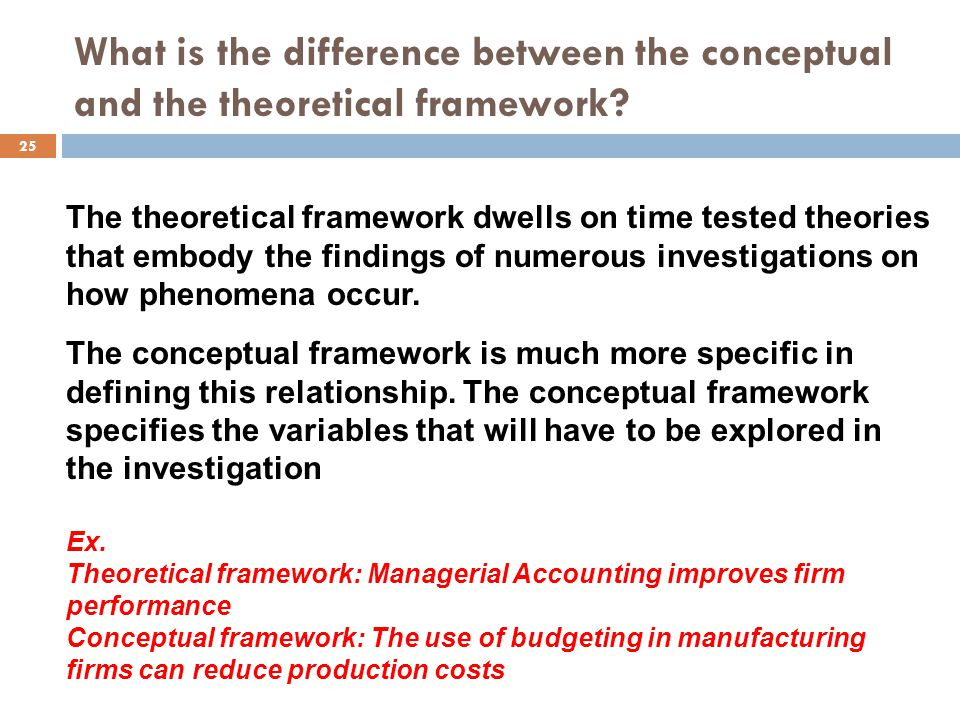 What is the difference between the conceptual and the theoretical framework