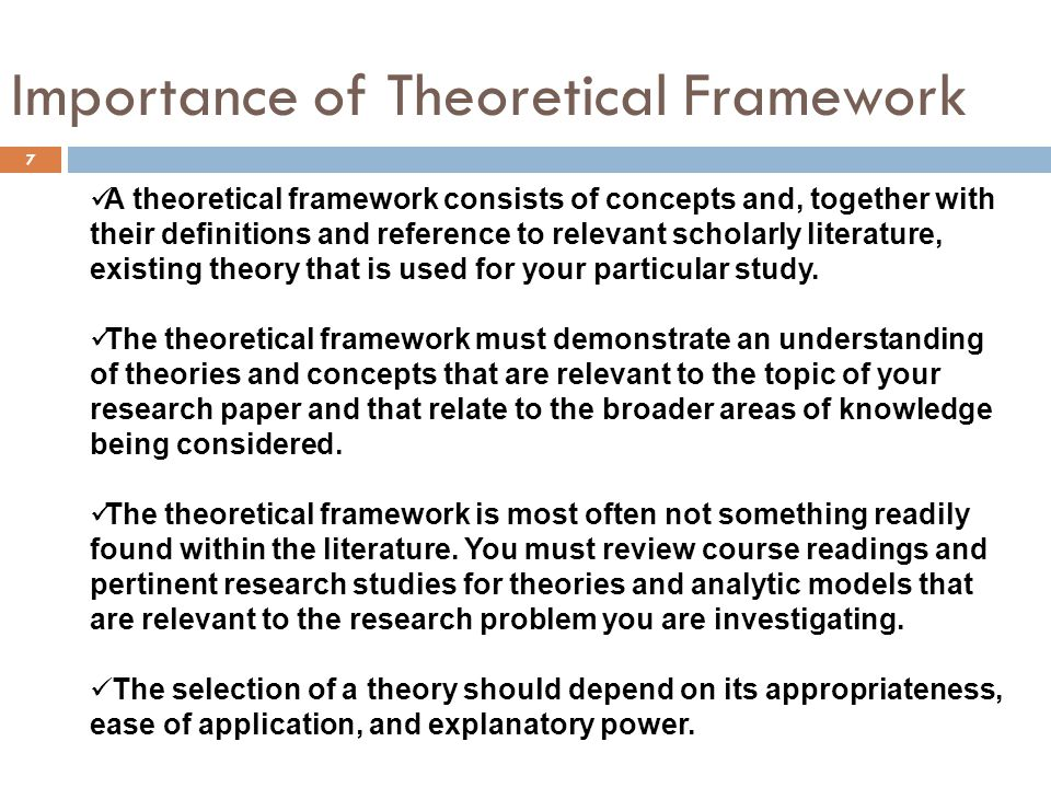 Importance of Theoretical Framework