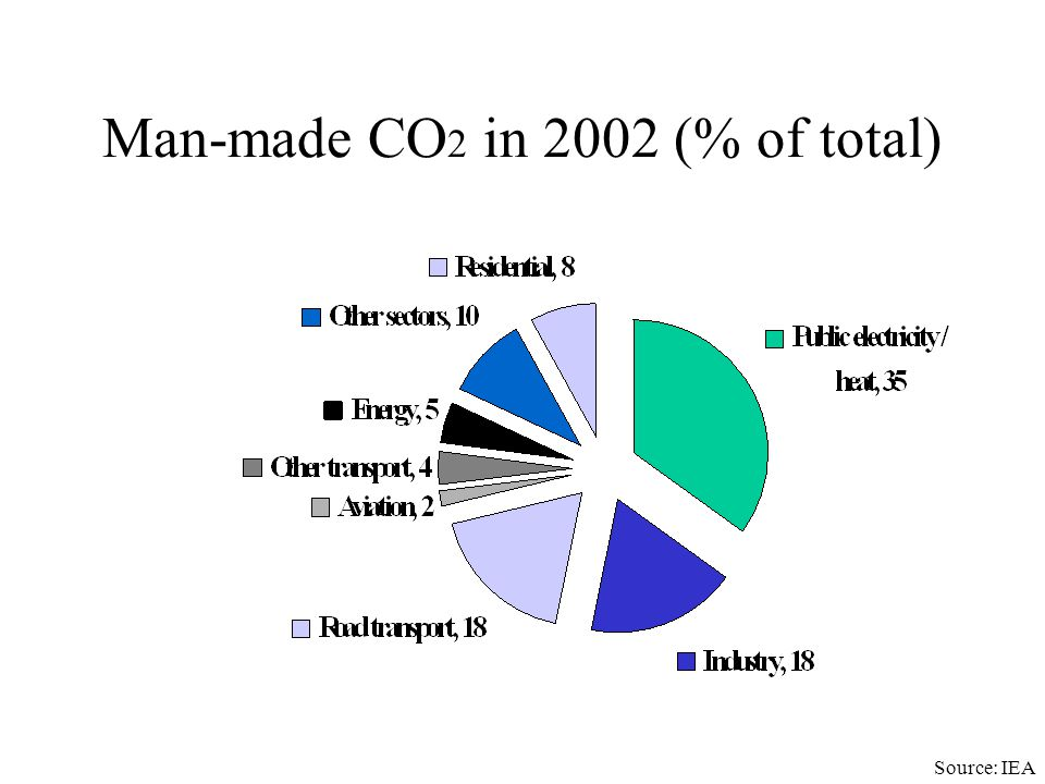 Man-made CO2 in 2002 (% of total)