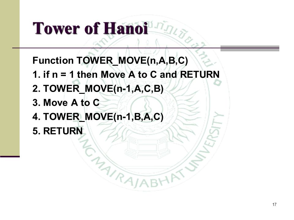 Tower of Hanoi Function TOWER_MOVE(n,A,B,C)