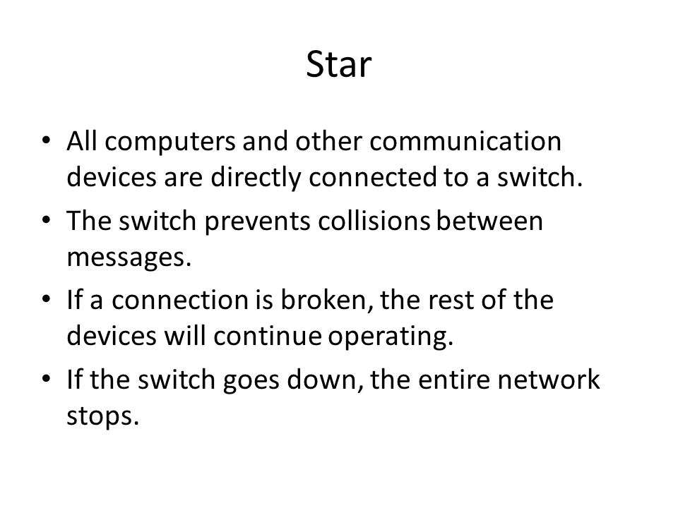 Star All computers and other communication devices are directly connected to a switch. The switch prevents collisions between messages.